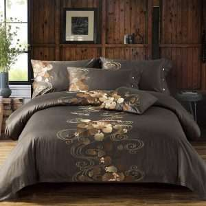 Embroidered Silk and Cotton Bedding Set
